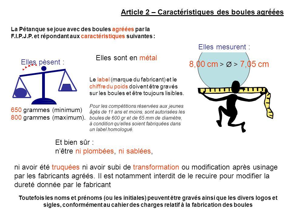 Article 2 – Caractéristiques des boules agréées