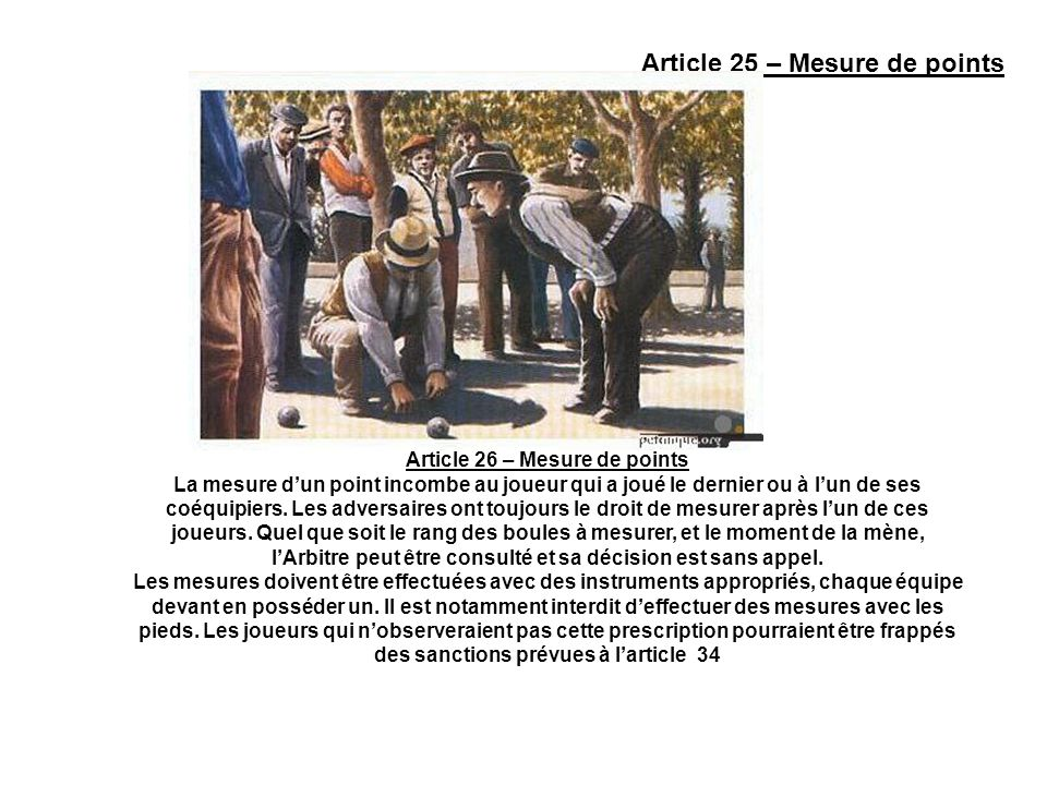 Article 26 – Mesure de points