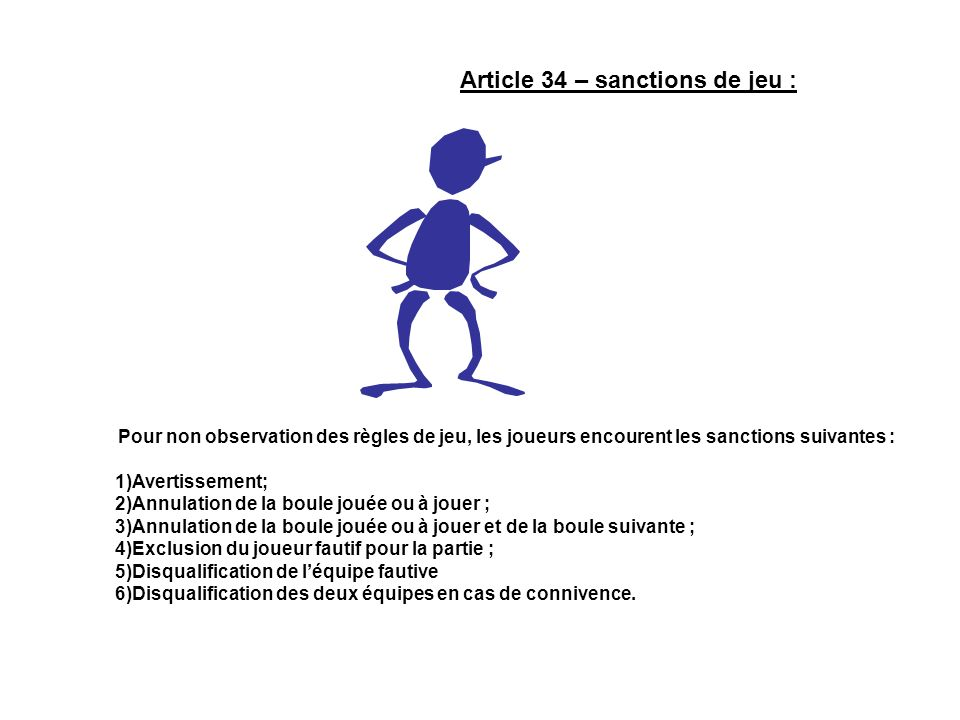 Article 34 – sanctions de jeu :