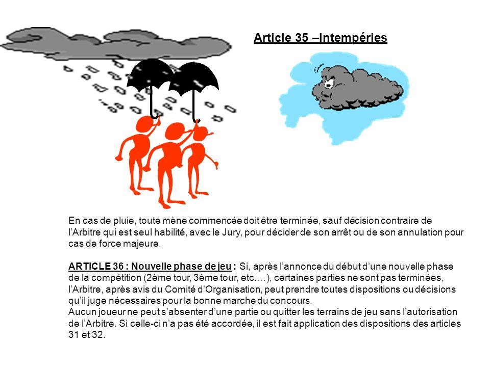 Article 35 –Intempéries