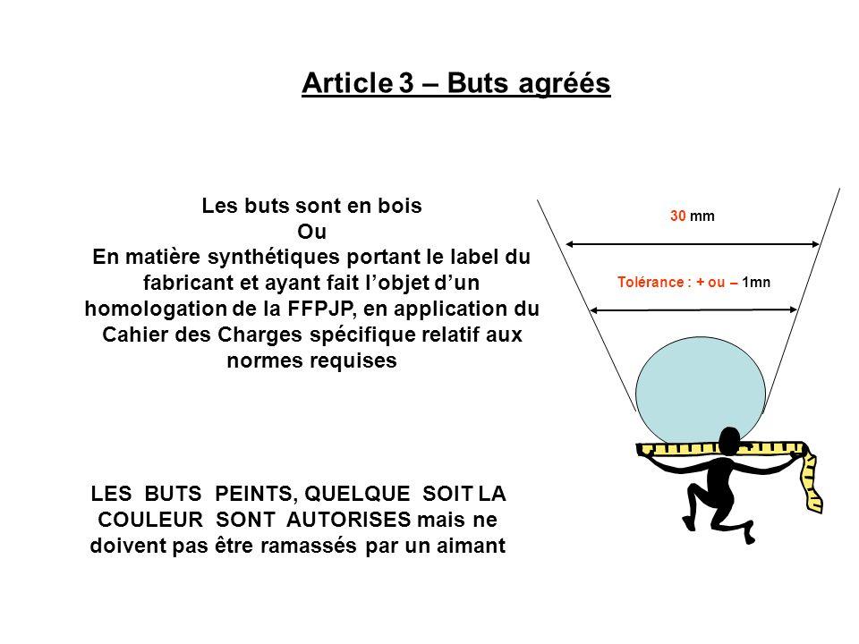 Article 3 – Buts agréés Les buts sont en bois Ou