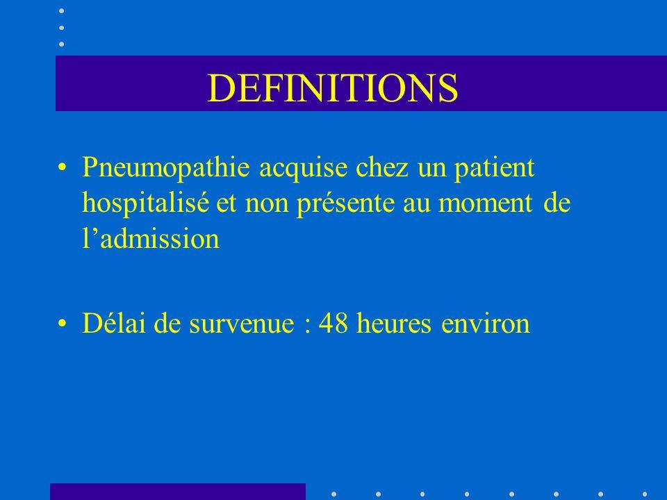DEFINITIONS Pneumopathie acquise chez un patient hospitalisé et non présente au moment de l'admission.