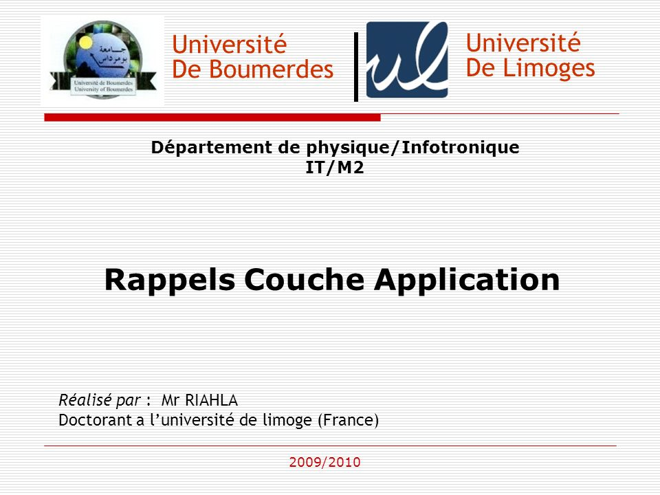 Rappels Couche Application