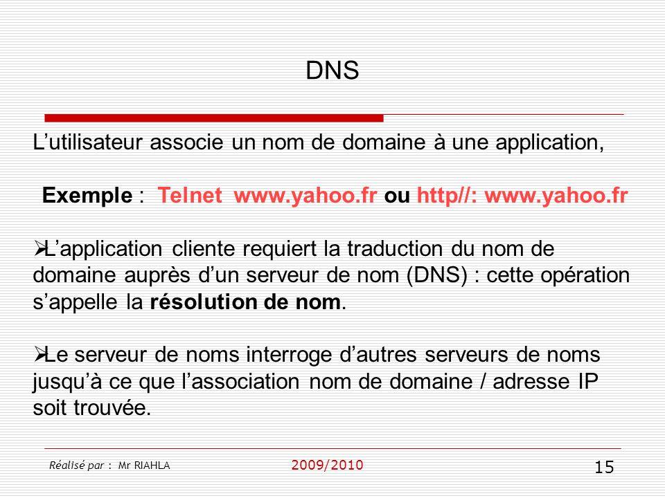 Exemple : Telnet www.yahoo.fr ou http//: www.yahoo.fr