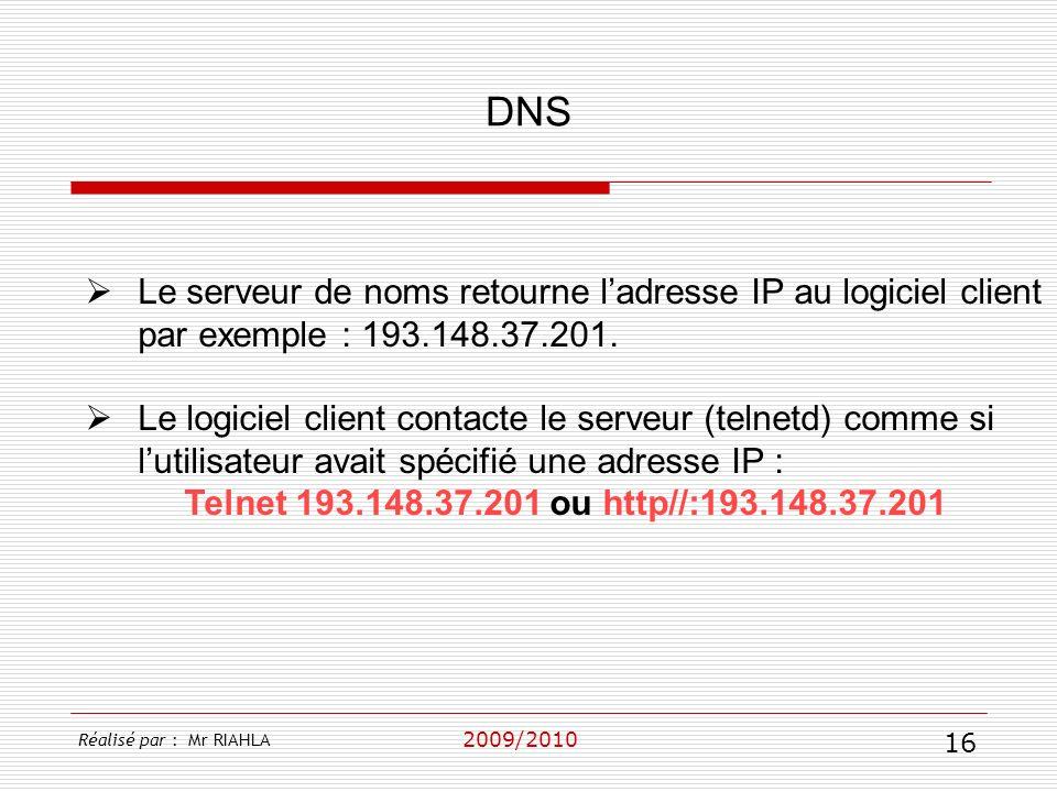 DNS Le serveur de noms retourne l'adresse IP au logiciel client par exemple : 193.148.37.201.