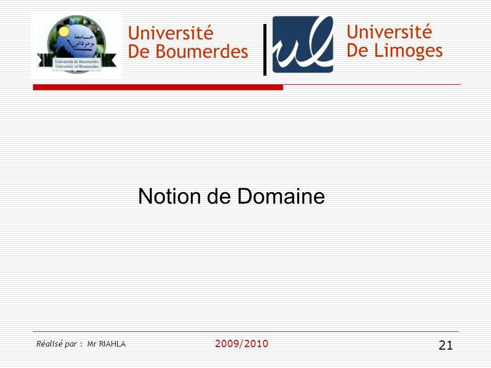 Notion de Domaine Université Université De Boumerdes De Limoges