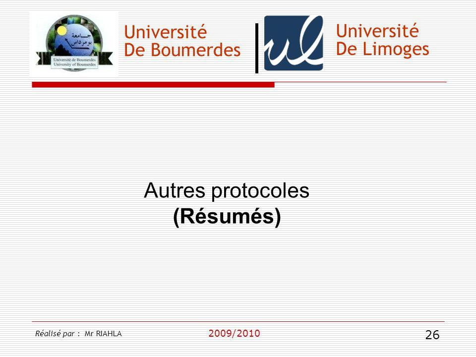Autres protocoles (Résumés) Université Université De Boumerdes