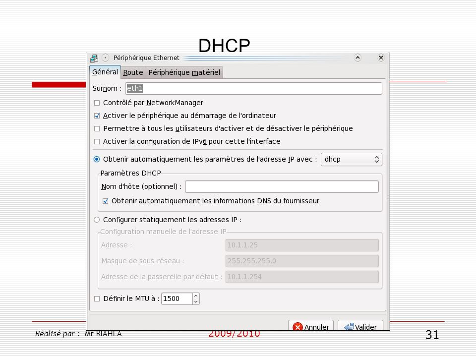 DHCP Réalisé par : Mr RIAHLA 2009/2010