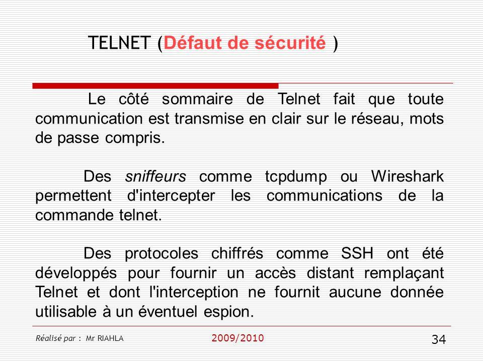 TELNET (Défaut de sécurité )