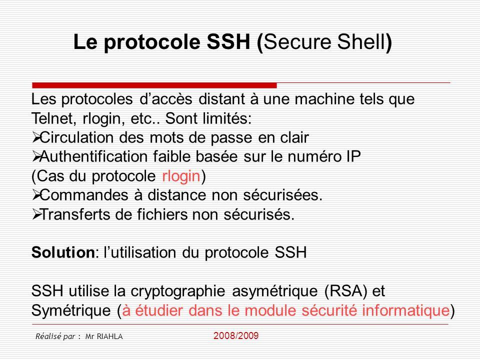 Le protocole SSH (Secure Shell)