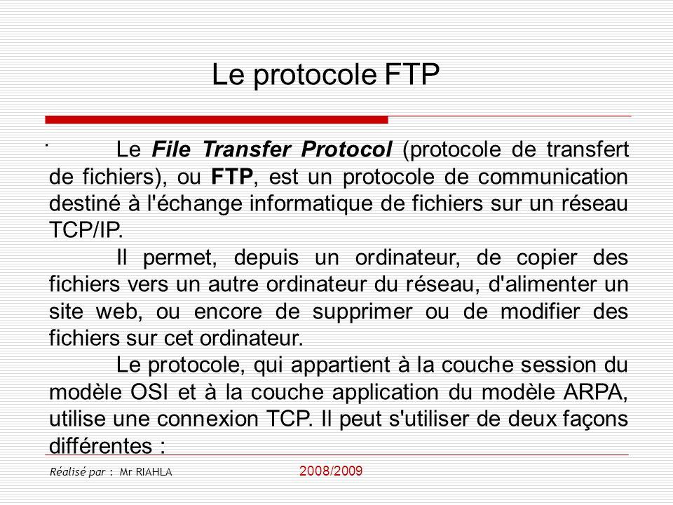 Le protocole FTP .