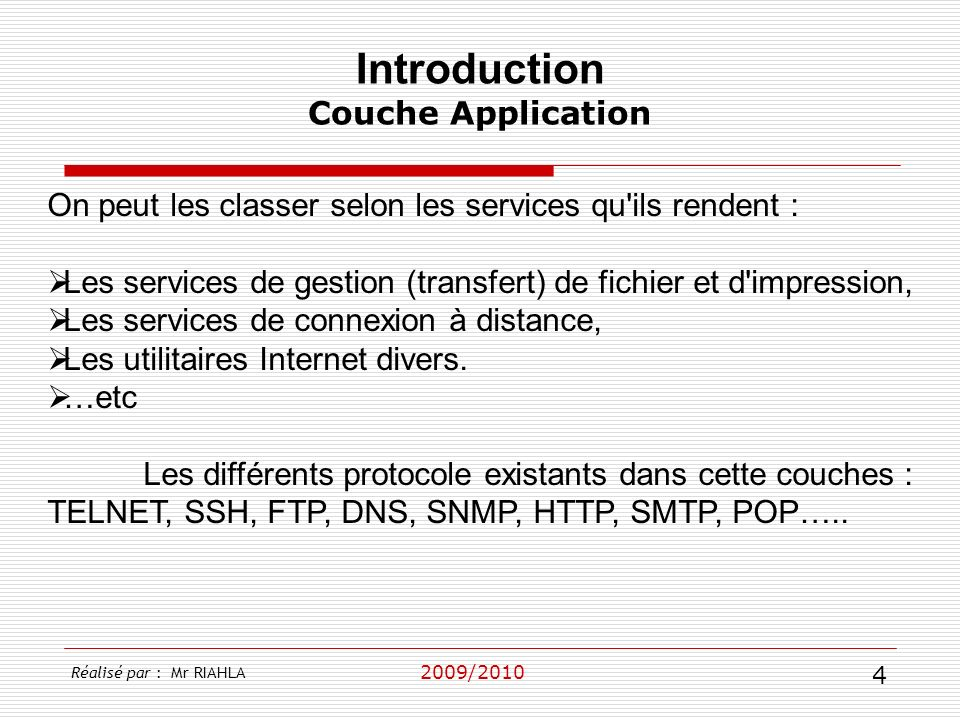 Introduction Couche Application