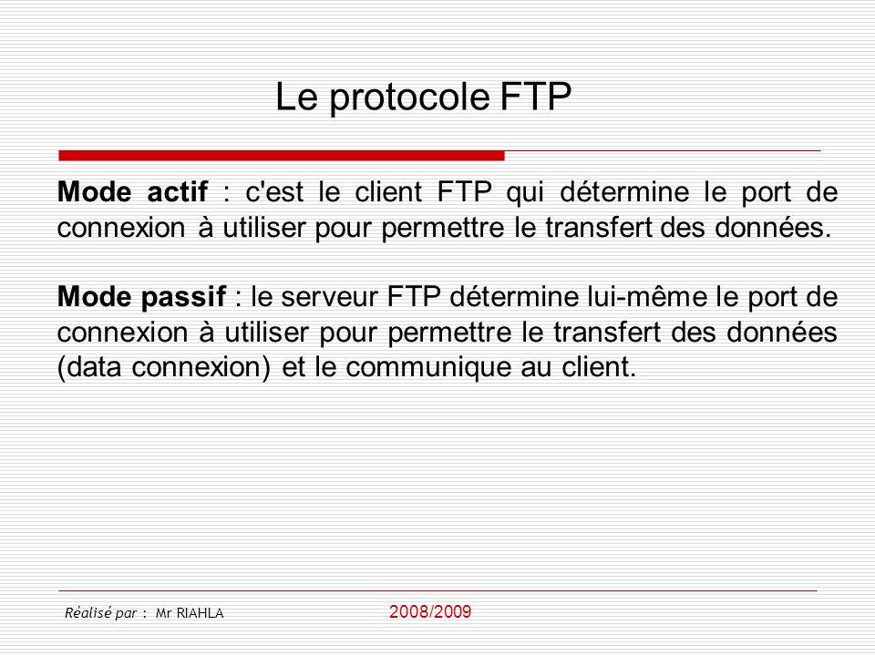 Le protocole FTP Mode actif : c est le client FTP qui détermine le port de connexion à utiliser pour permettre le transfert des données.