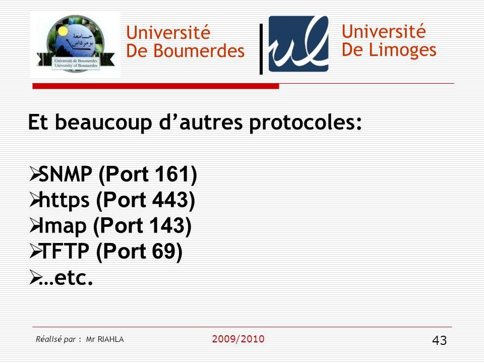 Et beaucoup d'autres protocoles: SNMP (Port 161) https (Port 443)