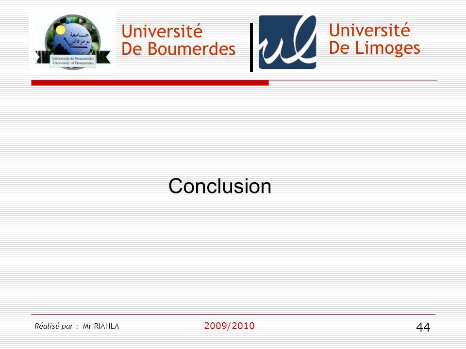 Conclusion Université Université De Boumerdes De Limoges 2009/2010