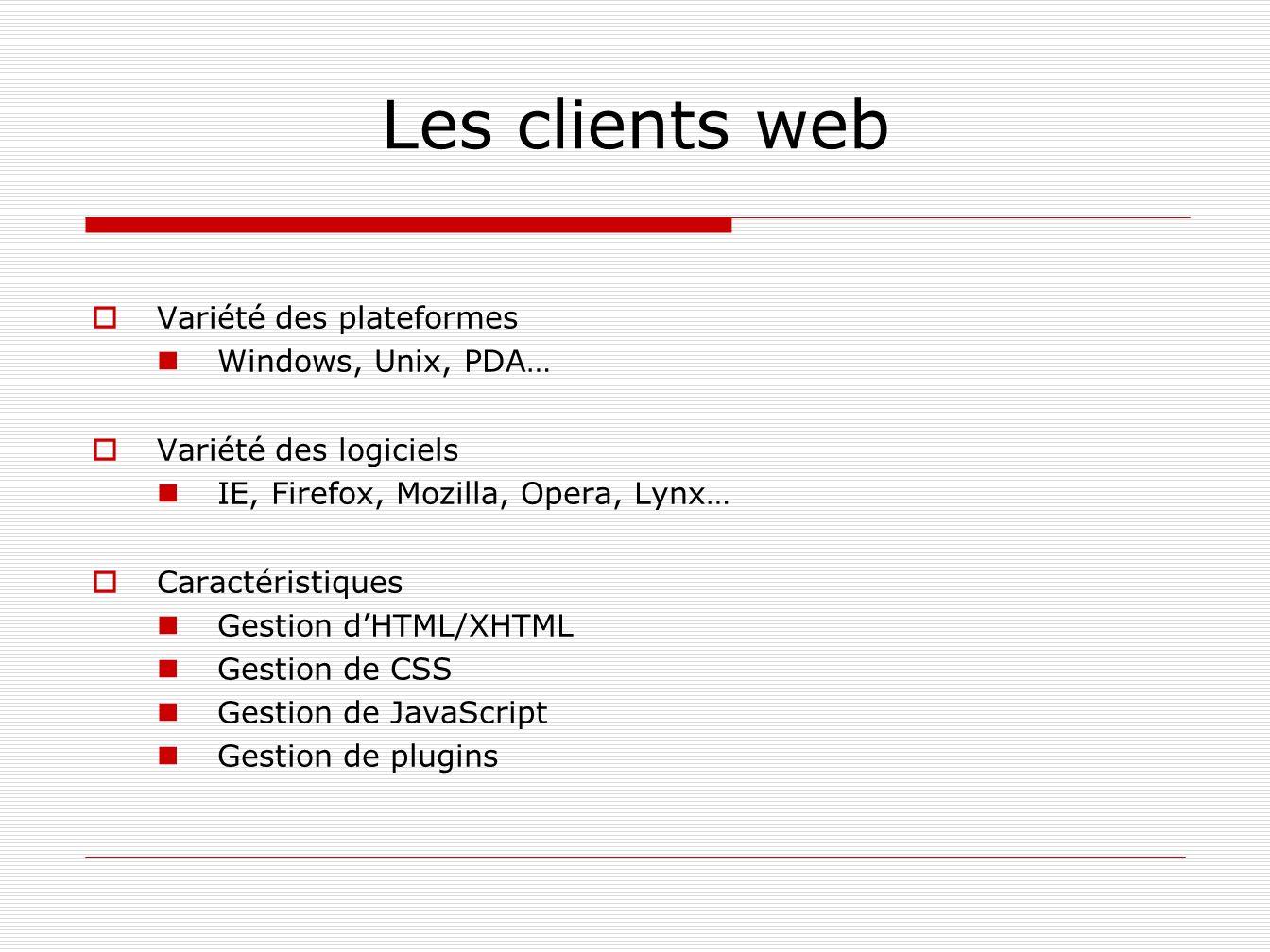 Les clients web Variété des plateformes Windows, Unix, PDA…
