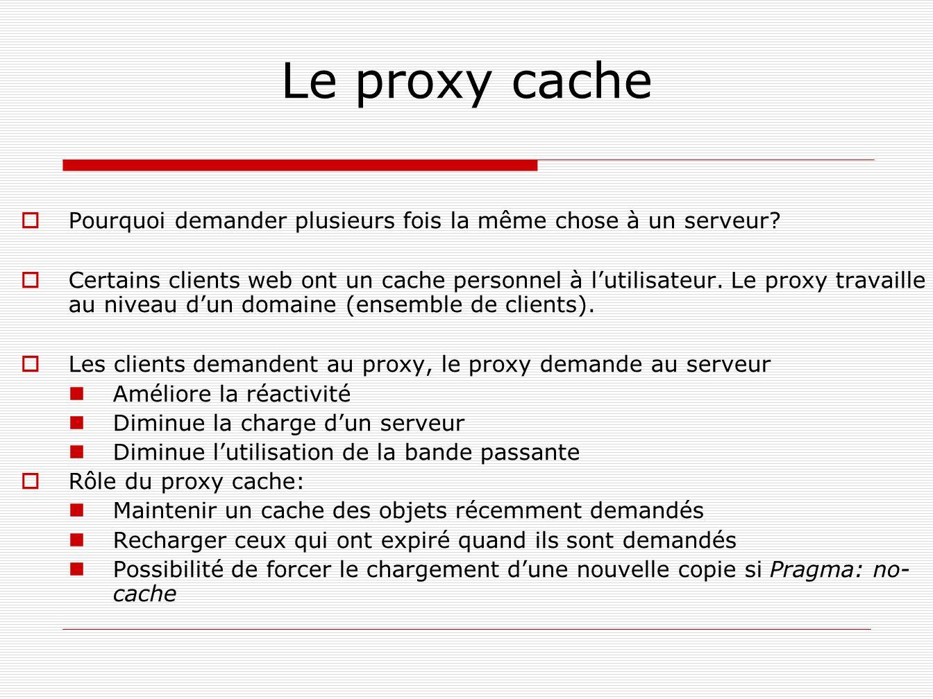Le proxy cache Pourquoi demander plusieurs fois la même chose à un serveur