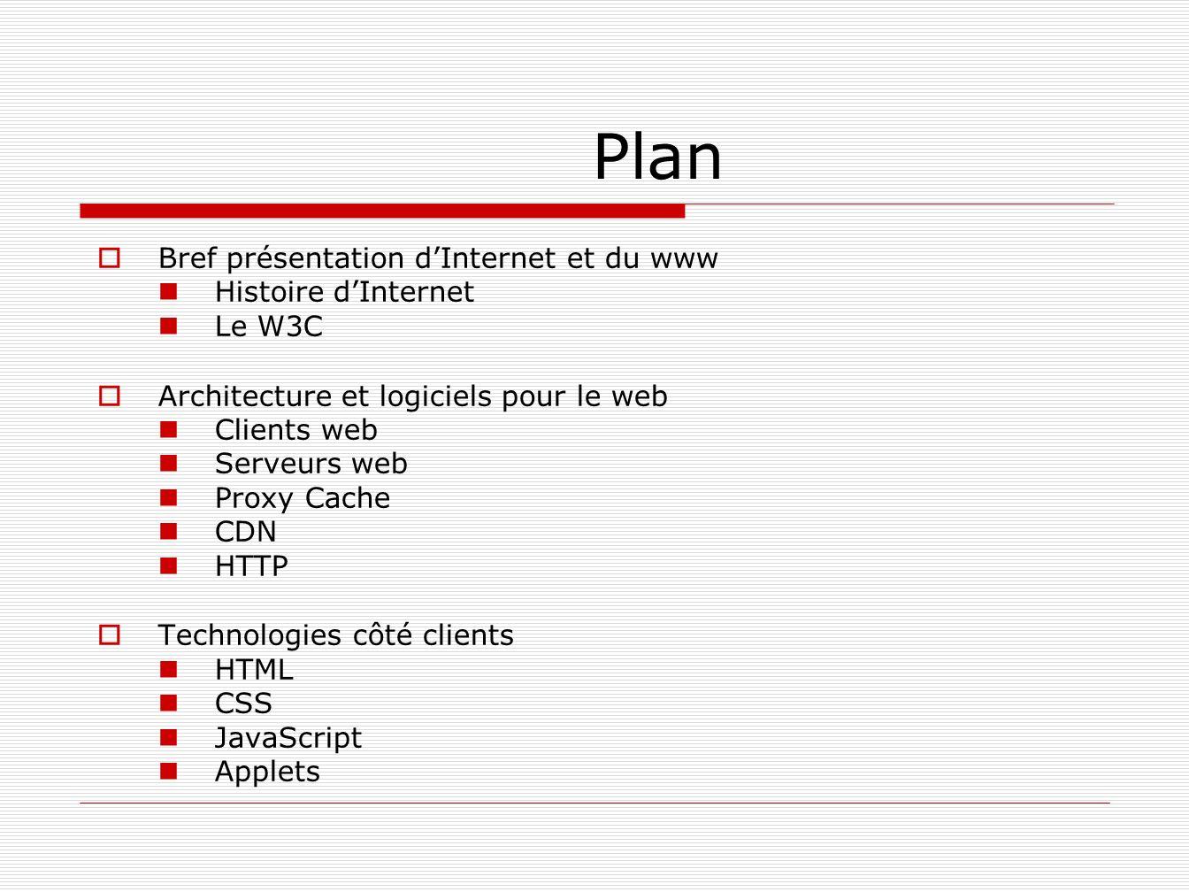 Plan Bref présentation d'Internet et du www Histoire d'Internet Le W3C