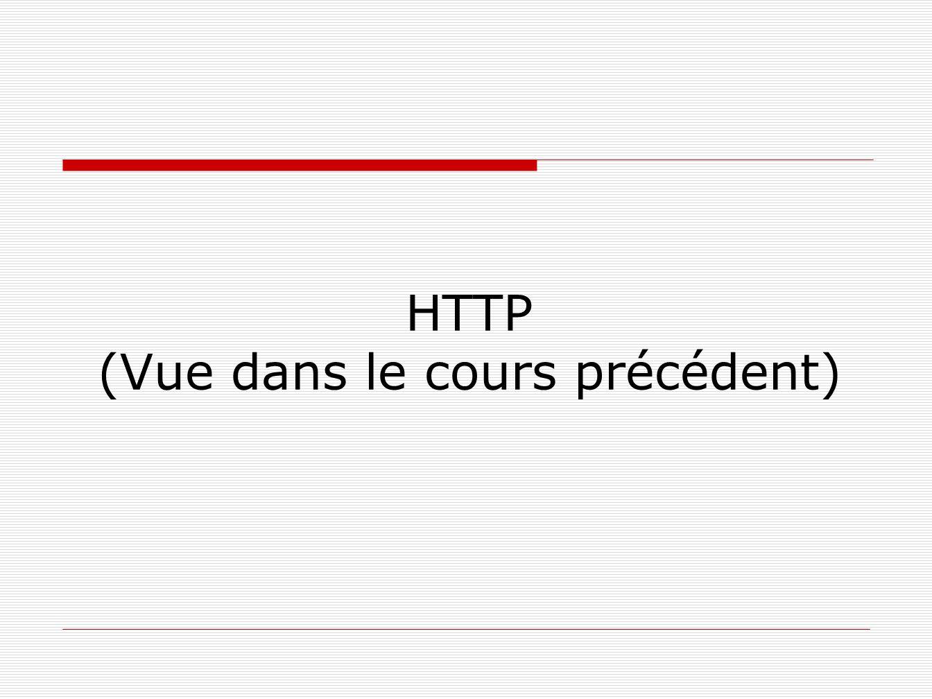 HTTP (Vue dans le cours précédent)