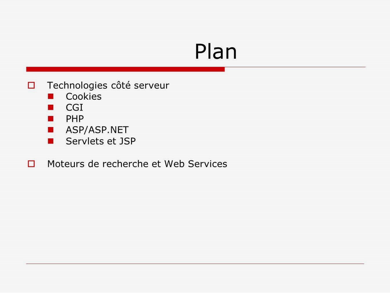 Plan Technologies côté serveur Cookies CGI PHP ASP/ASP.NET