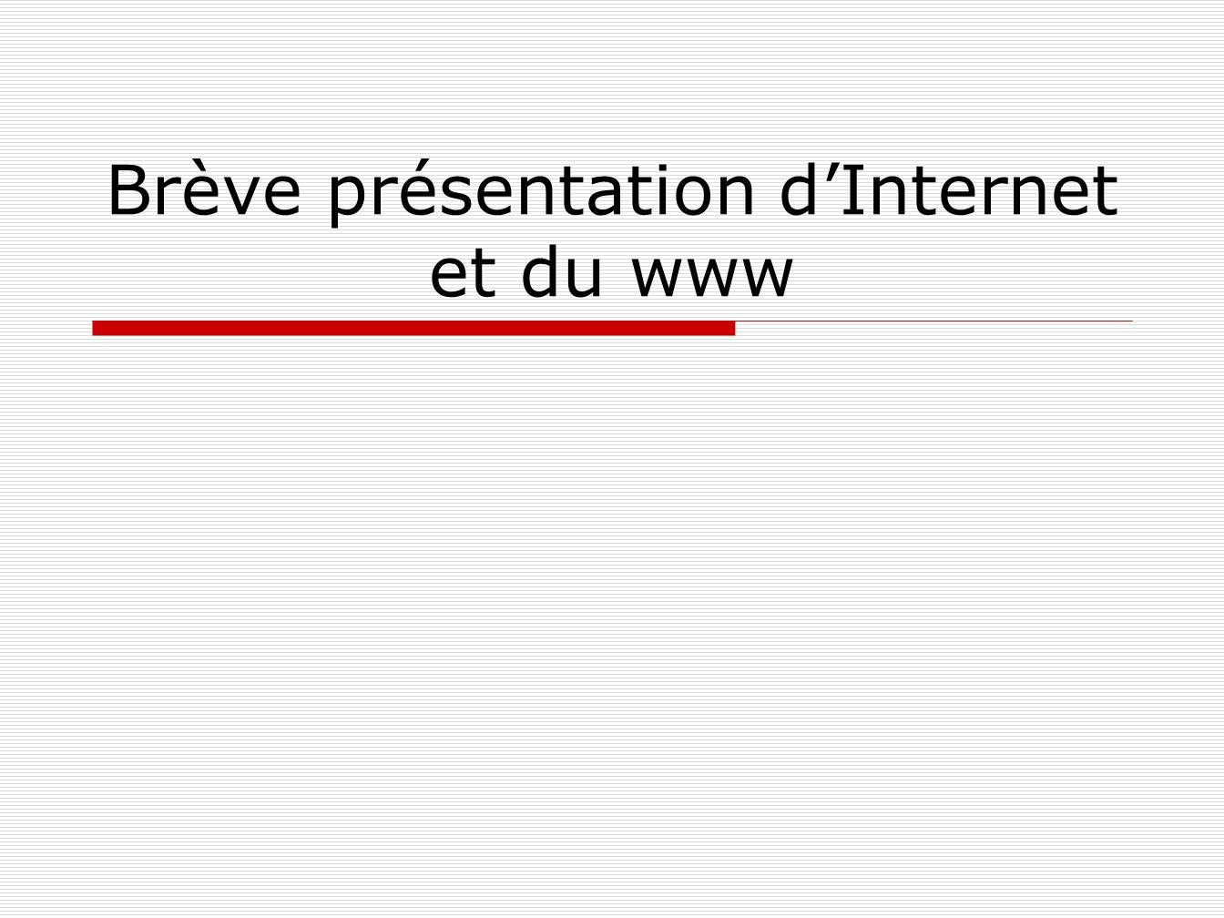 Brève présentation d'Internet et du www