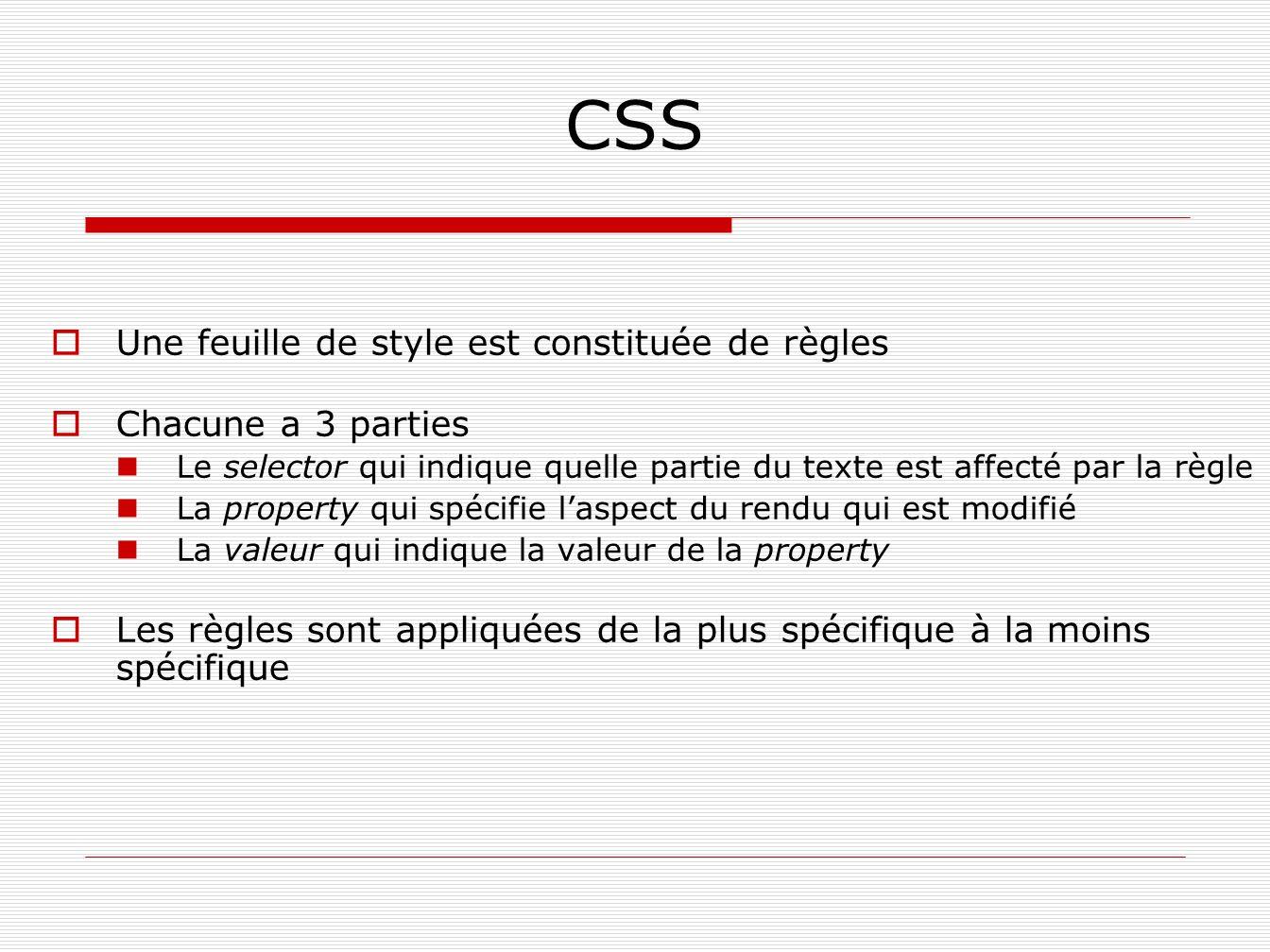 CSS Une feuille de style est constituée de règles Chacune a 3 parties