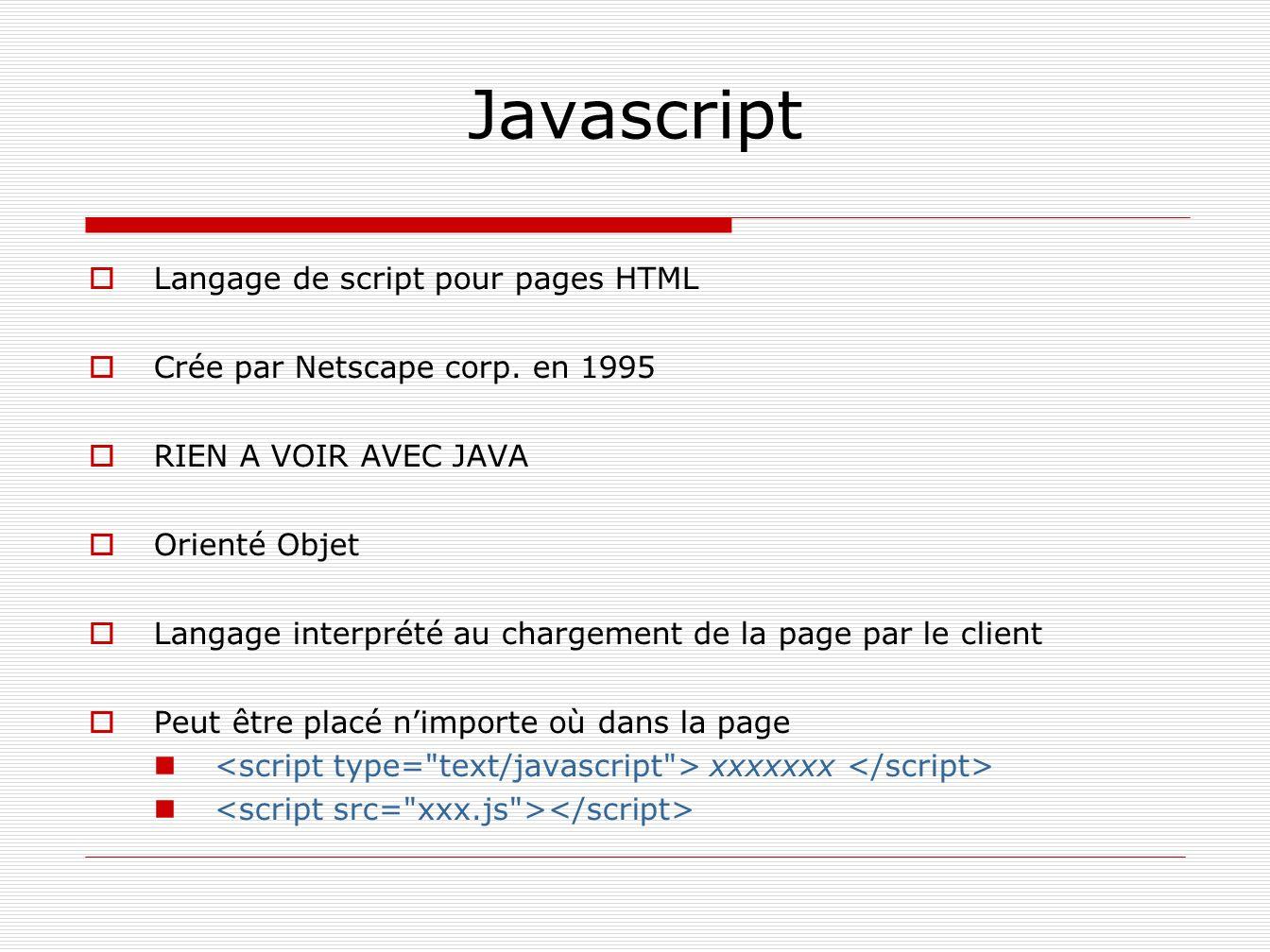 Javascript Langage de script pour pages HTML