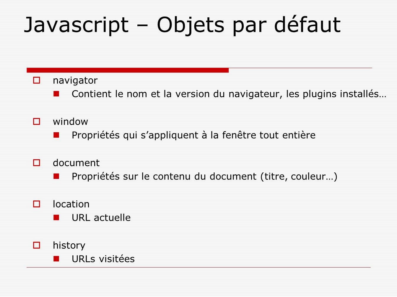 Javascript – Objets par défaut