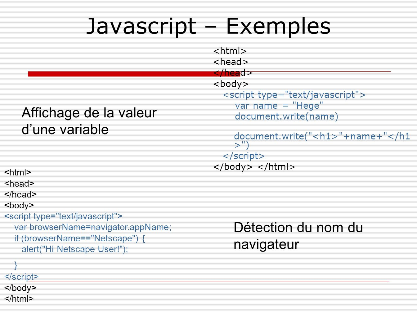 Javascript – Exemples Affichage de la valeur d'une variable