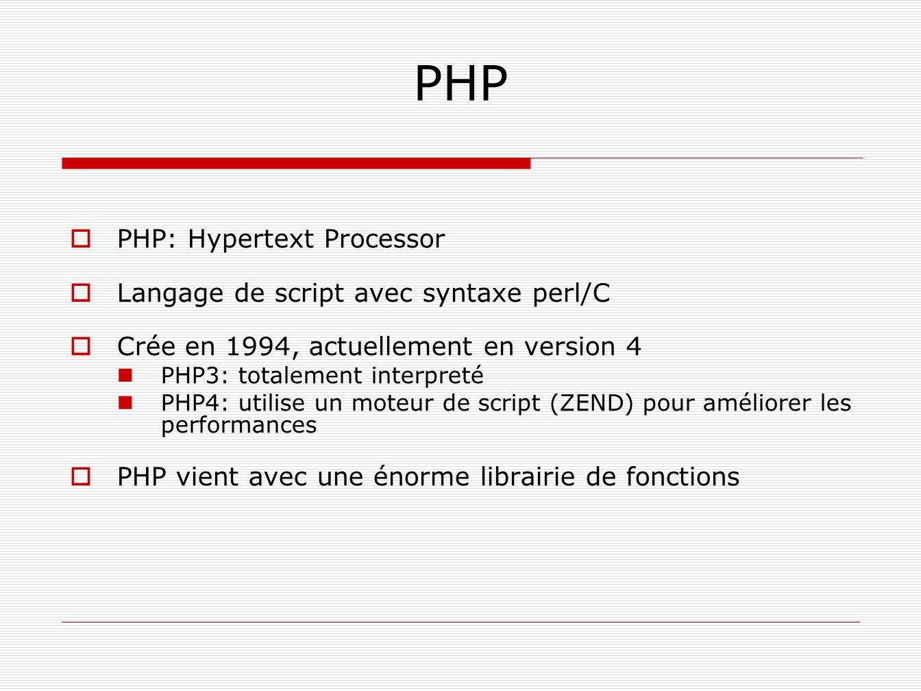 PHP PHP: Hypertext Processor Langage de script avec syntaxe perl/C