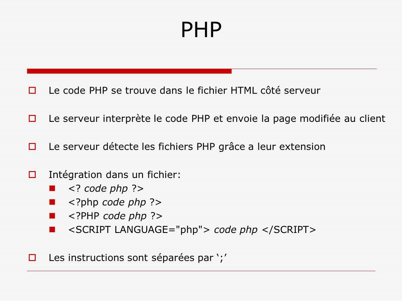 PHP Le code PHP se trouve dans le fichier HTML côté serveur