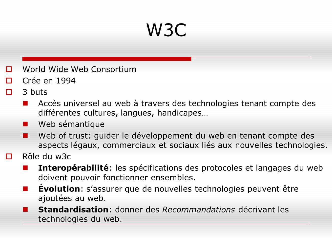 W3C World Wide Web Consortium Crée en 1994 3 buts