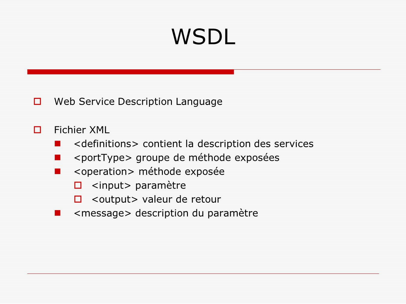 WSDL Web Service Description Language Fichier XML