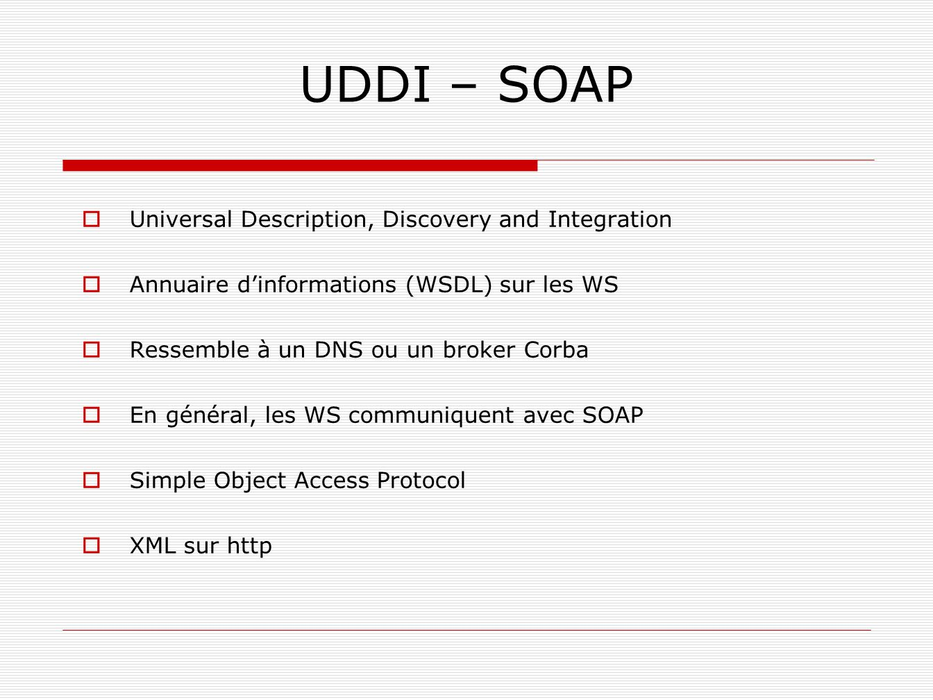 UDDI – SOAP Universal Description, Discovery and Integration
