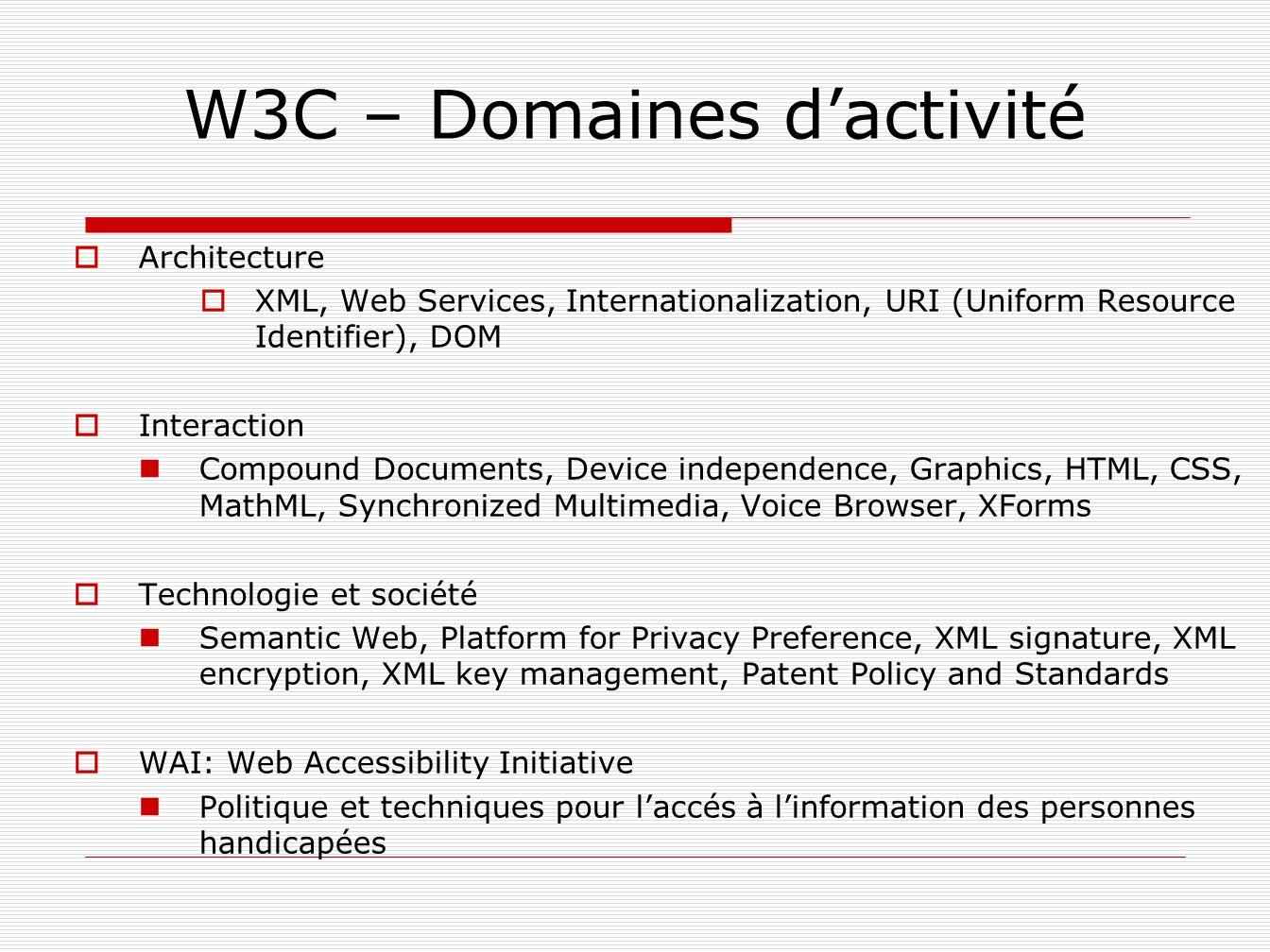 W3C – Domaines d'activité