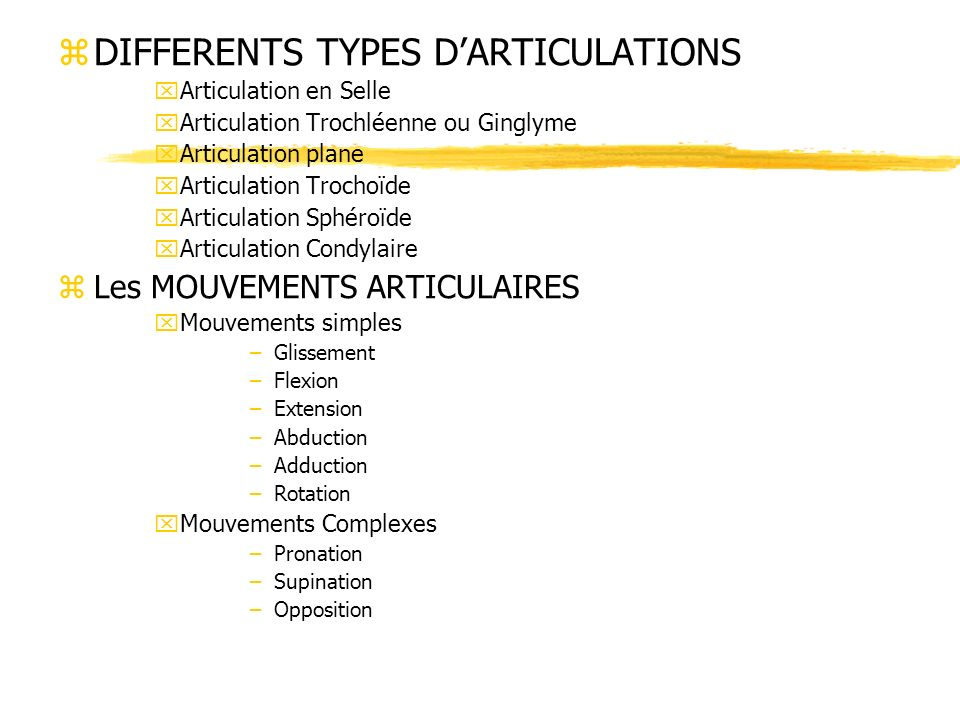 DIFFERENTS TYPES D'ARTICULATIONS