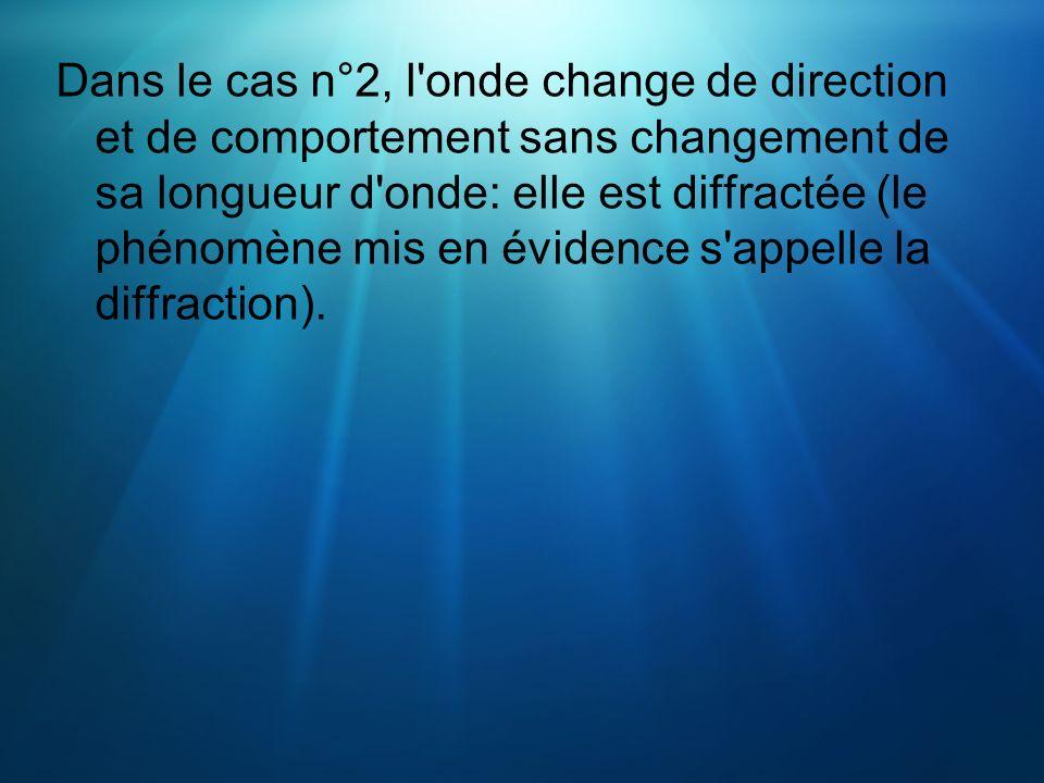 Dans le cas n°2, l onde change de direction et de comportement sans changement de sa longueur d onde: elle est diffractée (le phénomène mis en évidence s appelle la diffraction).