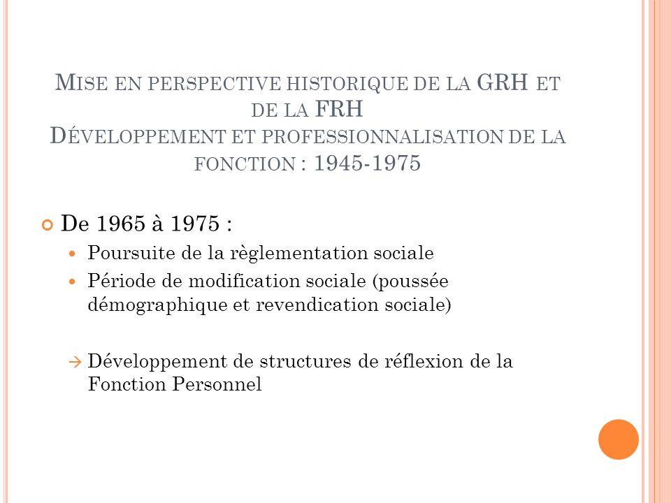 Mise en perspective historique de la GRH et de la FRH Développement et professionnalisation de la fonction : 1945-1975
