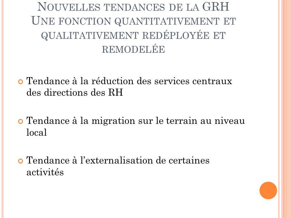 Nouvelles tendances de la GRH Une fonction quantitativement et qualitativement redéployée et remodelée