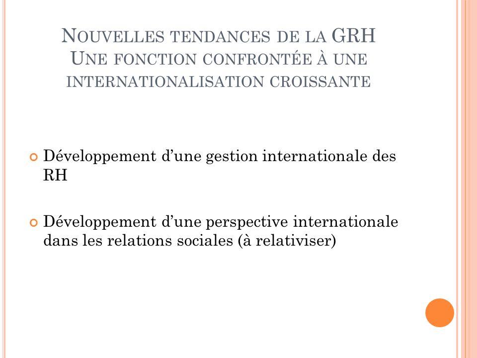 Nouvelles tendances de la GRH Une fonction confrontée à une internationalisation croissante