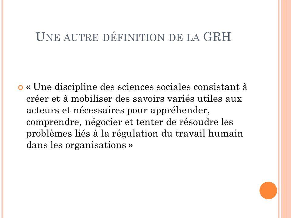 Une autre définition de la GRH