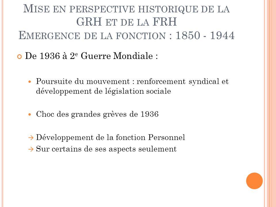 Mise en perspective historique de la GRH et de la FRH Emergence de la fonction : 1850 - 1944