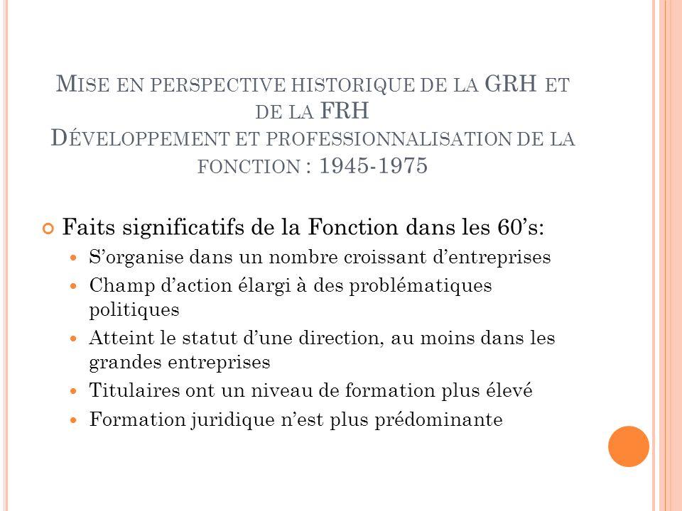 Faits significatifs de la Fonction dans les 60's: