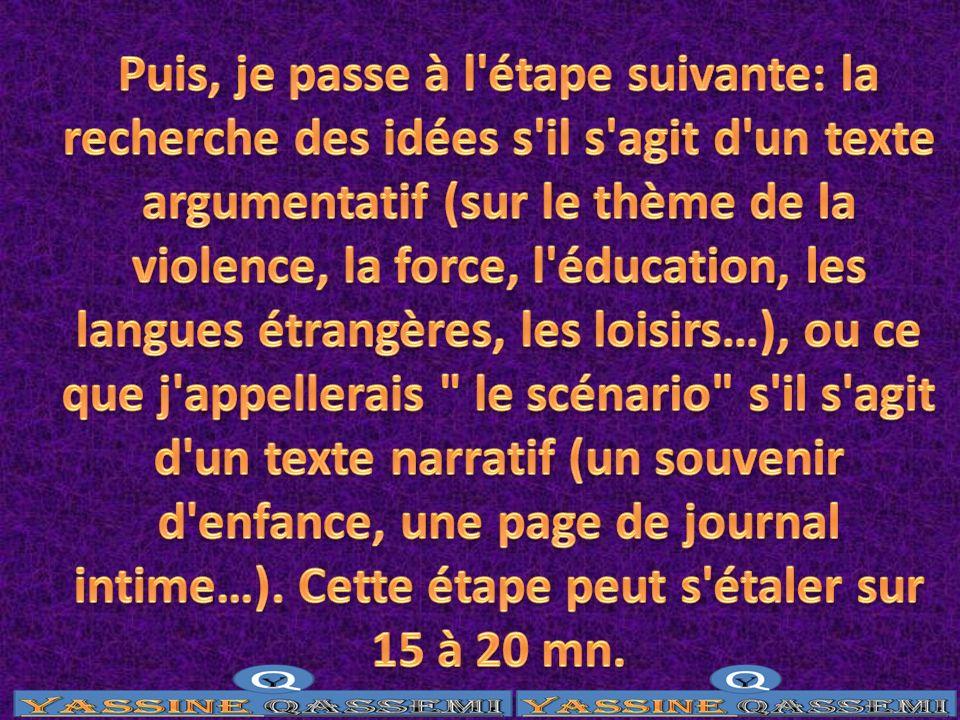 Puis, je passe à l étape suivante: la recherche des idées s il s agit d un texte argumentatif (sur le thème de la violence, la force, l éducation, les langues étrangères, les loisirs…), ou ce que j appellerais le scénario s il s agit d un texte narratif (un souvenir d enfance, une page de journal intime…).