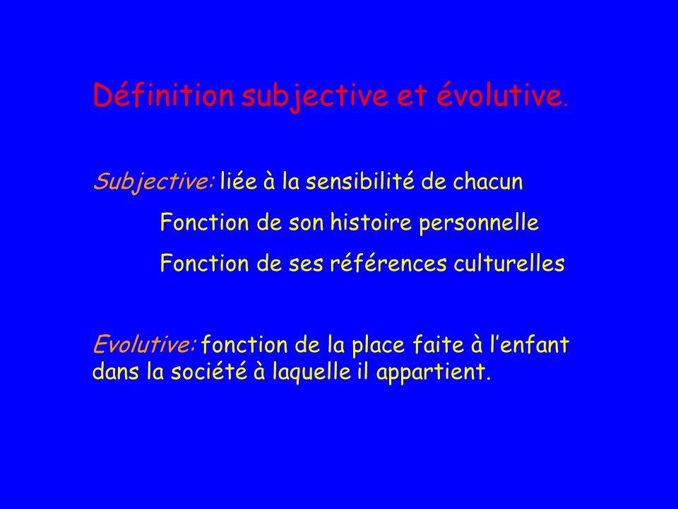 Définition subjective et évolutive.