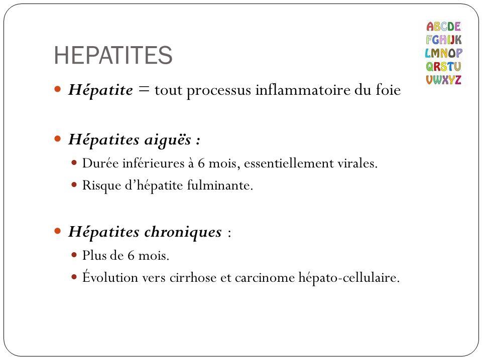 HEPATITES Hépatite = tout processus inflammatoire du foie