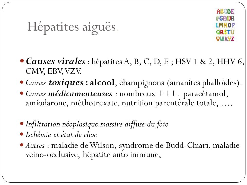 Hépatites aiguës. Causes virales : hépatites A, B, C, D, E ; HSV 1 & 2, HHV 6, CMV, EBV, VZV.