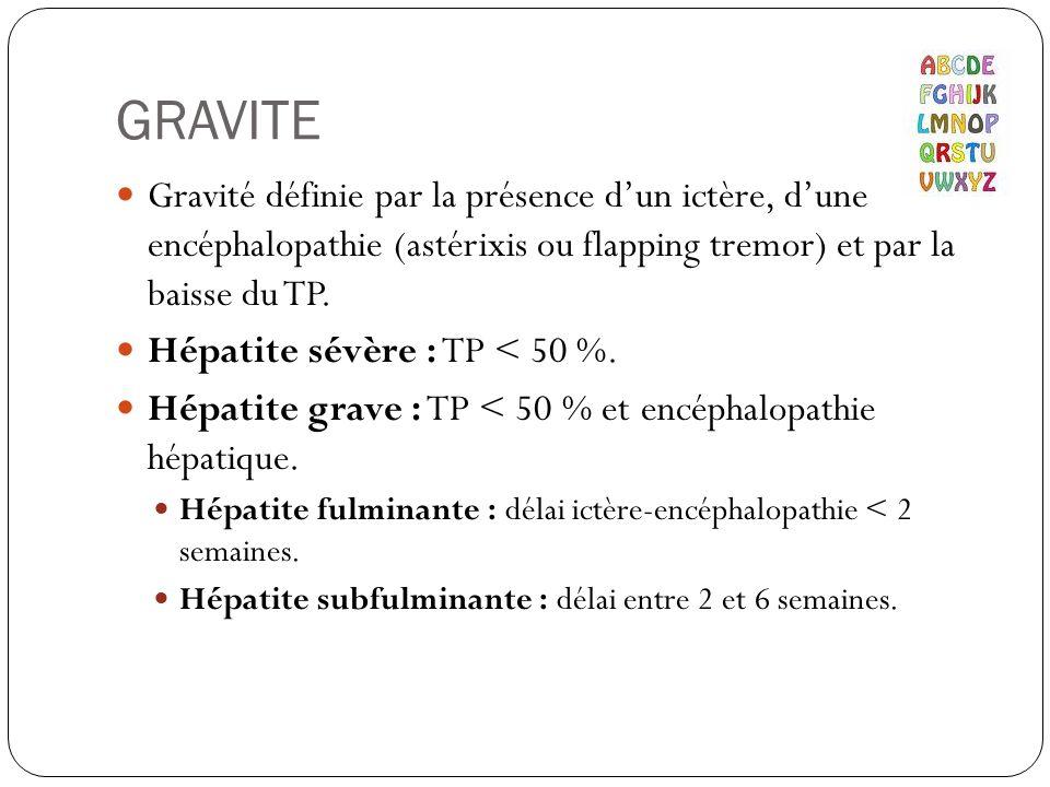 GRAVITE Gravité définie par la présence d'un ictère, d'une encéphalopathie (astérixis ou flapping tremor) et par la baisse du TP.