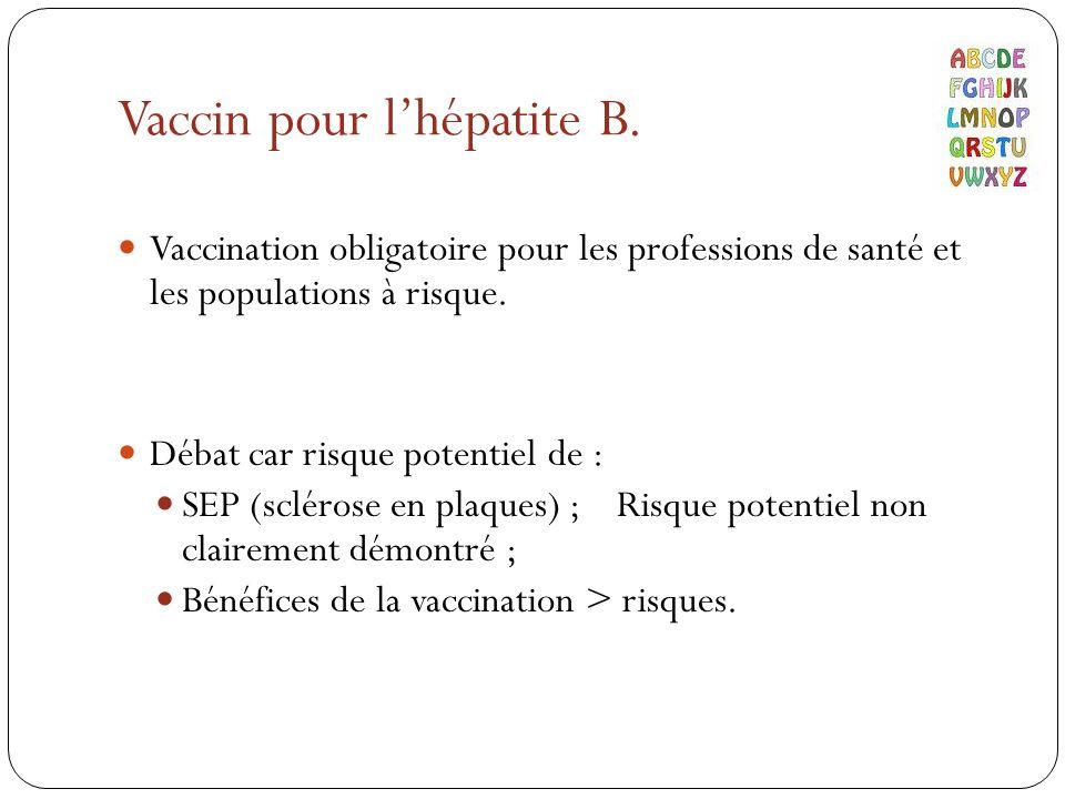 Vaccin pour l'hépatite B.