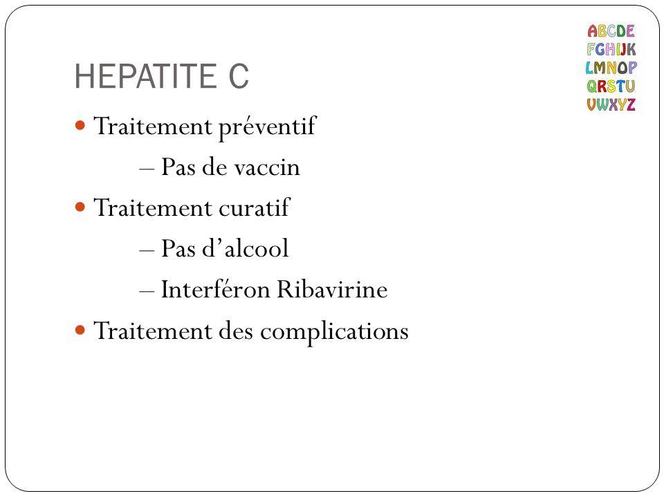 HEPATITE C Traitement préventif – Pas de vaccin Traitement curatif